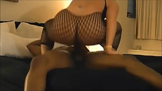 Blonde milf wife fucks BBC in fishnets