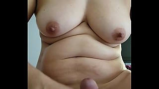 Milf from Tinder with natural Tits getting horny with my Black cock