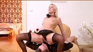 Housewife in sexy lingerie fucks and sucks a black strap on