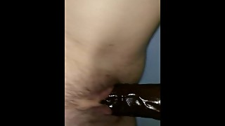 Husband fucks wife with BBC dildo