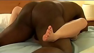 Arian=White Hotwife toes spread and legs spread by big black cock creampie