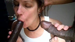 My Slut Wife Sucks on 2 BBC and Shows off to Camera