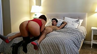 Latina hotwife getting worked by her bull in her bed