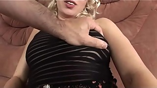 Sexy blonde in black lingerie and mask wants to be banged