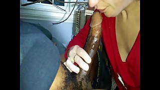 Wife Sucking Strangers BBC, Messy, Sloppy Blowjob, Milf Gags on Black Dick