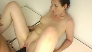 Creaming wife gets a big black strap-on fuck