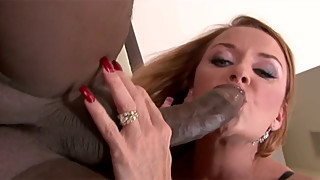 Mad redhead housewife calms down the second she sees a black cock